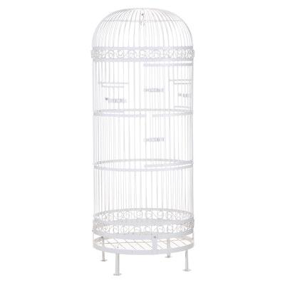 Large White-Painted Iron Bird Cage