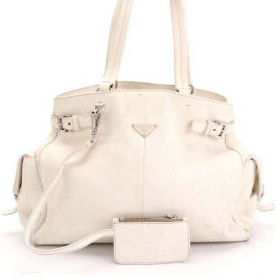 Prada Shoulder Tote Bag Large in White Vitello Daino Leather with Zip Pouch