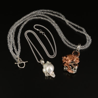 Sterling Pearl and Morganite Pendant Necklaces