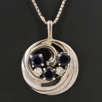 14K Sapphire and Diamond Swirl Pendant Necklace
