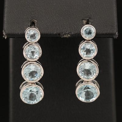 Sterling Topaz Graduate Earrings