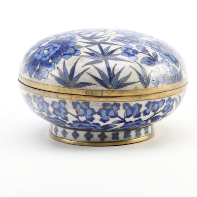 Chinese Cloisonné Blue and White Floral Trinket Box, 20th Century