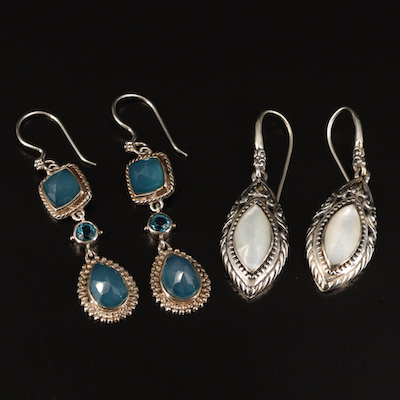 Robert Manse  and Sajen Sterling Quartz and Chalcedony Drop Earrings