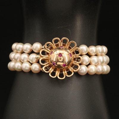 Vintage 14K Pearl and Ruby Triple-Strand Bracelet