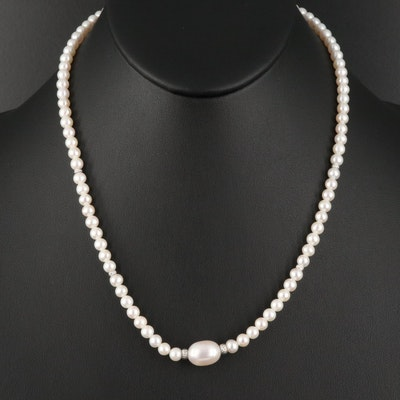 Pearl Necklace with Sterling Silver Beads and Clasp