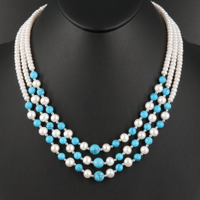 Triple-Strand Pearl and Turquoise Necklace with Sterling Beads and Clasp