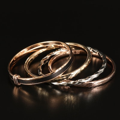 Turkish and Italian Bangles Including Bronze, Sterling and Leather Inlay