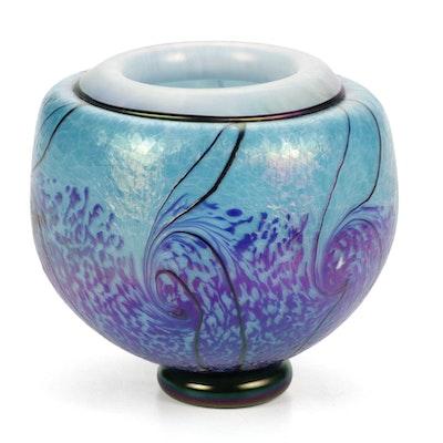 Michael Rozell Handblown Iridescent Glass Art Vase