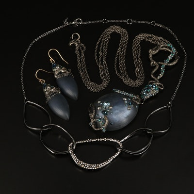 Alexis Bittar Lucite and Rhinestone Curb and Drop Necklaces and Earrings