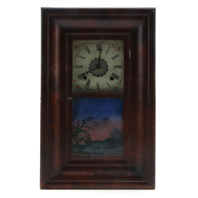 Reverse Glass Painted Panel Ogee Mantel Clock, Mid to Late 19th Century