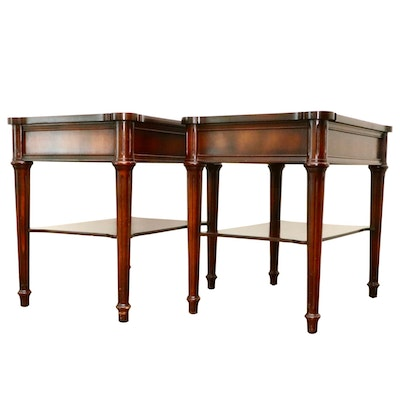 Pair of Directoire Style Mahogany and Leather Top Tiered End Tables