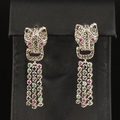 Sterling Cat Head Door Knocker Earrings with Ruby and Sapphire Drop