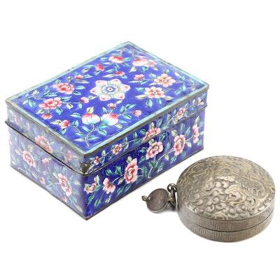 Chinese Cloisonné Box with Indian Repoussé Trinket Box, 20th Century