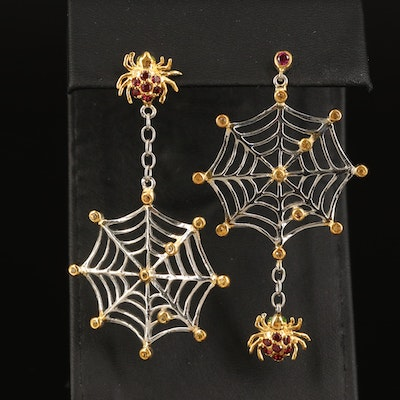Sterling Spider and Web Earrings with Rhodolite Garnet and Sapphire