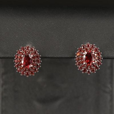 Sterling Garnet Double Halo Earrings