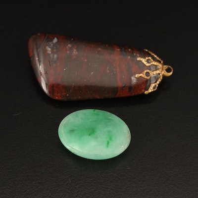 Loose 12.75 CT Oval Faceted Jadeite and Tumbled Jasper
