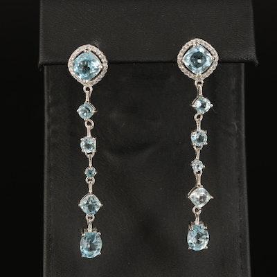 Sterling Sky Blue Topaz and Cubic Zirconia Drop Earrings