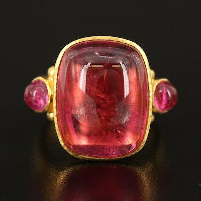 Elizabeth Locke 18K 15.57 CT Pink Tourmaline Ring