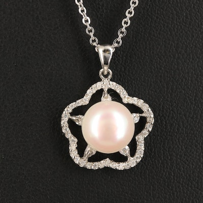 Sterling Pearl and Cubic Zirconia Flower Pendant Necklace