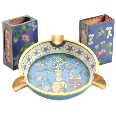 Chinese Cloisonné Ash Tray and with Matchbox Covers, 20th Century