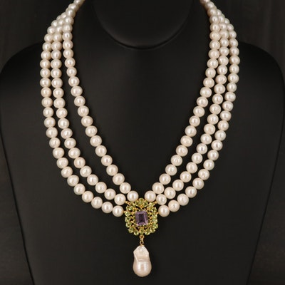 Sterling Amethyst, Peridot and Pearl Necklace