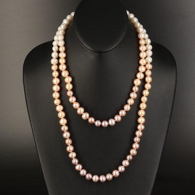 Graduated Pearl Double Strand Necklace with Sterling Clasp
