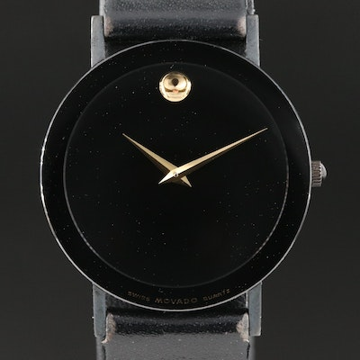 Movado Black Museum Stainless Steel and Black PVD Wristwatch