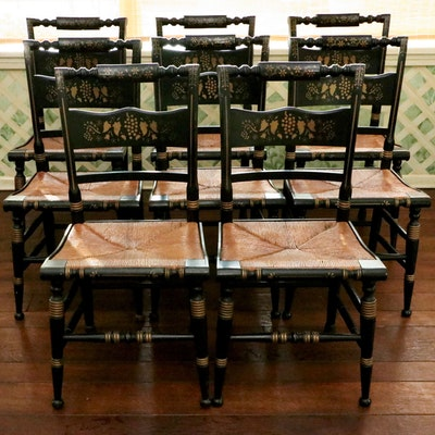 Eight Hitchcock Style Parcel-Ebonized and Stenciled Rush Seat Dining Chairs