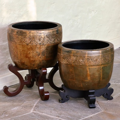 Embossed Metal Planters on Wooden Stands
