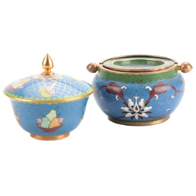 Chinese Cloisonné Trinket Box and Ashtray, Mid to Late 20th Century