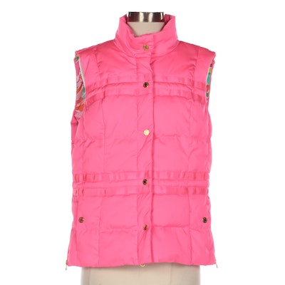 Lilly Pulitzer Pink Puffer Vest with Floral Lining