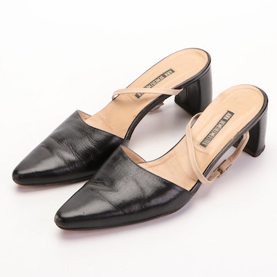 Ann Demeulemeester Pointed-Toe Heeled Mules with Ankle Strap in Black Goatskin
