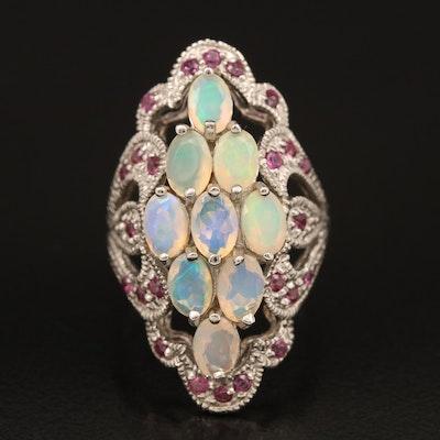 Sterling Opal and Rhodolite Garnet Ring