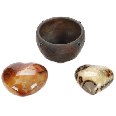 Ann McCormick Bowl, Dendritic Carnelian and Septarian Paperweights