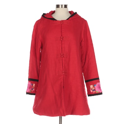 Red Hooded Coat with Embroidered Trim and Patchwork Style Quilted Lining