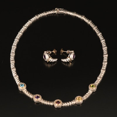 Sterling Necklace and Earrings Including Peridot, Amethyst and Topaz