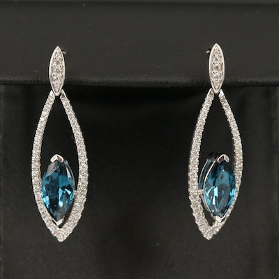 Sterling Silver Color-Change Glass and Cubic Zirconia Earrings