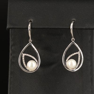Sterling Pearl and Diamond Teardrop Earrings