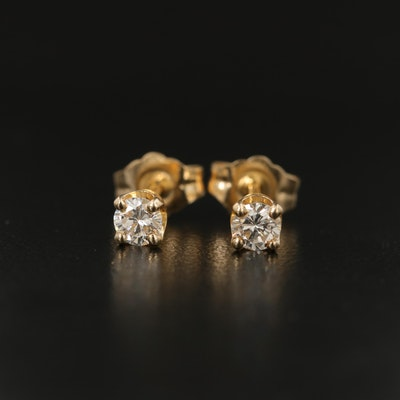 14K Gold 0.25 CTW Diamond Stud Earrings