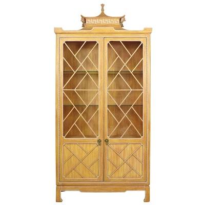 Tomlinson Furniture Pagoda Motif Illuminated China Cabinet, Mid-20th Century