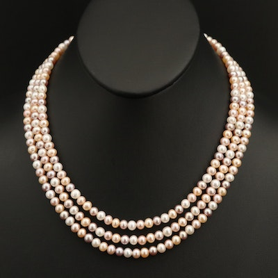 Pearl Triple-Strand Necklace with 14K Clasp
