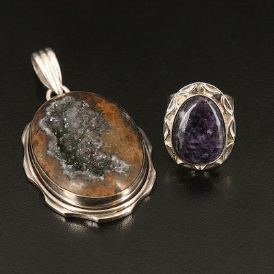Sterling Silver Jasper Geode and Charoite Pendant and Desert Rose Trading Ring