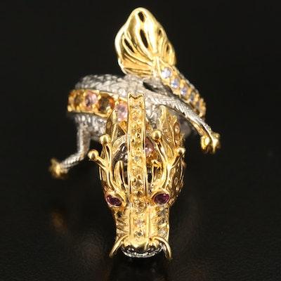 Sterling Tourmaline, Rhodolite Garnet and Tanzanite Articulated Dragon Ring
