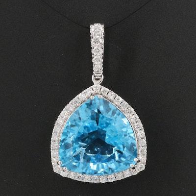 14K 13.78 CT Swiss Blue Topaz and Diamond Halo Pendant