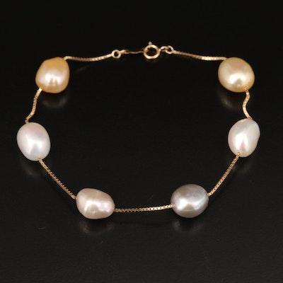 14K Baroque Pearl Station Bracelet