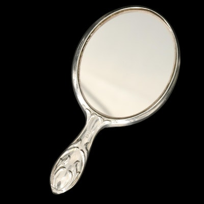 Monogrammed Reed & Barton Silver Plate Hand Mirror, Mid to Late 20th Century