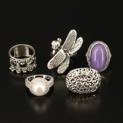 Sterling Silver Gemstone Rings Including Pearl, Jadeite and Cubic Zirconia