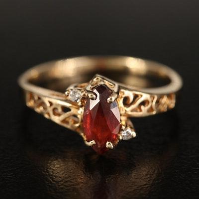 10K Garnet and Diamond Three Stone Ring with Openwork Shoulders