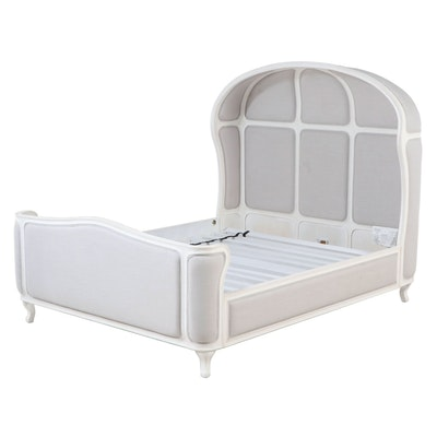 """Restoration Hardware """"Versailles"""" Painted and Upholstered Queen Size Bed Frame"""