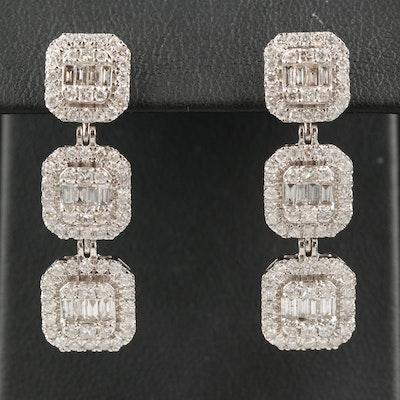 14K 3.18 CTW Diamond Tiered Drop Earrings